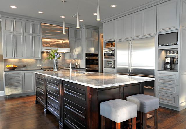 美式风格一层别墅及稳重灰色窗帘效果图