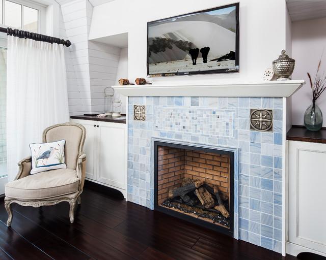 地中海风格室内三层连体别墅艺术家具砖砌真火壁炉设计图图片