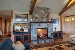 美式风格卧室三层小别墅简单温馨砖砌真火壁炉设计图效果图