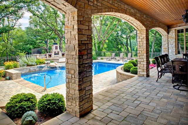 地中海风格三层双拼别墅低调奢华室内游泳池装修图片