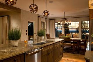美式乡村风格客厅三层双拼别墅浪漫婚房布置大理石餐桌图片