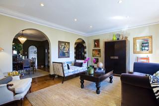 简约中式风格一层半别墅实用客厅灰色窗帘效果图
