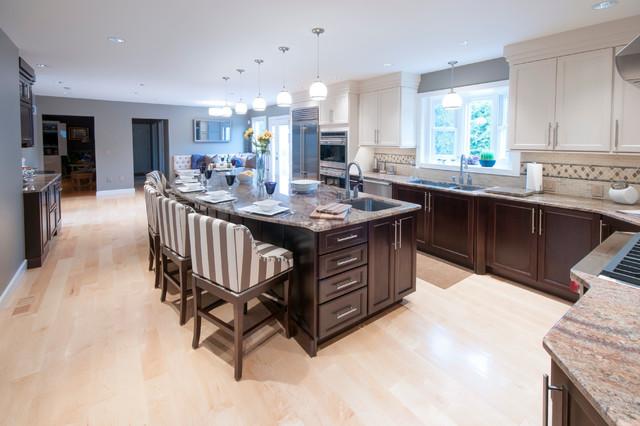 现代美式风格一层半小别墅别墅豪华整体厨房颜色装修效果图