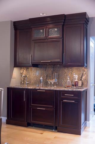 美式风格三层平顶别墅豪华别墅家用酒柜图片