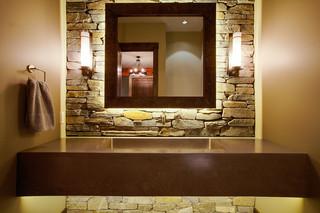 美式乡村风格客厅三层独栋别墅浪漫婚房布置卫生间台盆效果图