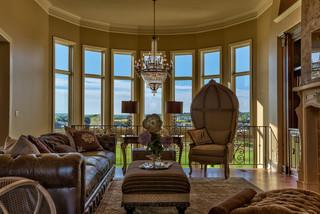 美式风格一层半小别墅豪华卧室客厅沙发摆放设计图纸