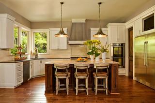 美式风格客厅三层平顶别墅简单温馨2014家装厨房装修图片