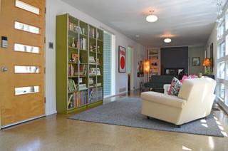 宜家风格客厅一层半小别墅时尚简约客厅阳台书架图片