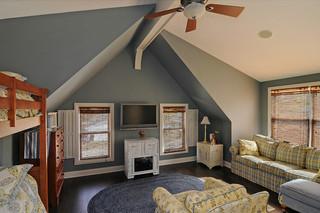 现代美式风格三层半别墅简洁卧室灰色窗帘装修效果图