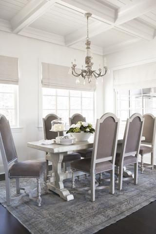 现代美式风格三层半别墅小清新大理石餐桌效果图