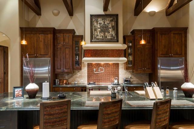 美式风格200平米别墅温馨整体厨房颜色设计