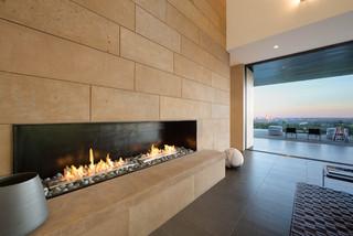 现代美式风格三层半别墅豪华欧式卧室砖砌真火壁炉设计图图片