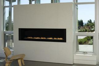 现代美式风格一层别墅及大气砖砌真火壁炉设计图效果图