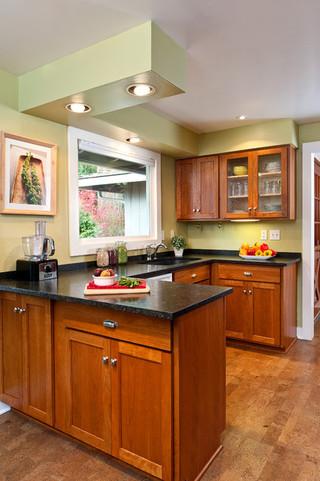 美式乡村风格2014年别墅简单温馨绿色橱柜装修图片