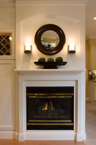 美式风格客厅一层别墅及大气砖砌真火壁炉设计图图片