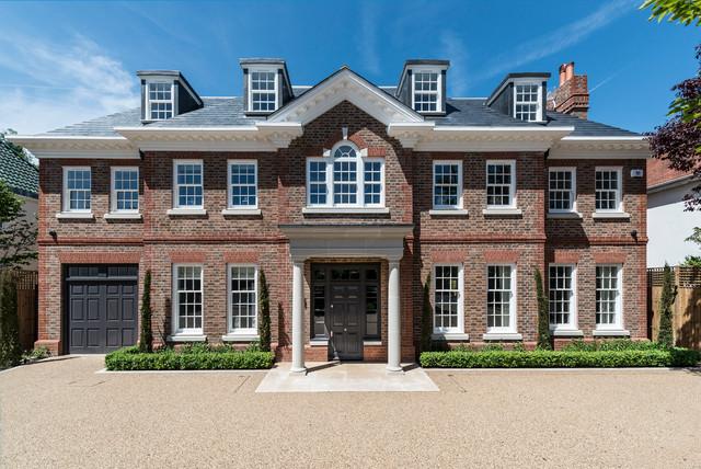 宜家风格三层平顶别墅舒适庭院灯装潢高清图片