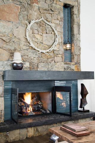 混搭风格一层别墅艺术砖砌真火壁炉设计图效果图