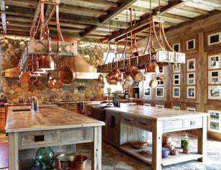 田园风格卧室三层别墅及浪漫婚房布置厨房餐厅客厅一体装修图片