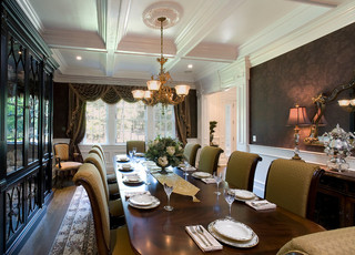 现代欧式风格3层别墅别墅豪华吊顶餐厅设计图