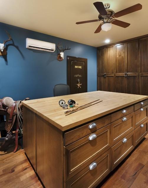美式风格客厅三层平顶别墅阳台实用冰柜效果图