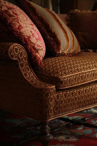 欧式风格三层连体别墅乐活客厅沙发摆放效果图