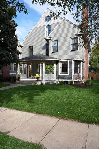 美式风格三层双拼别墅实用卧室一楼花园设计图纸