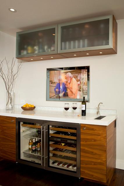 美式风格精装公寓客厅简洁 酒架效果图