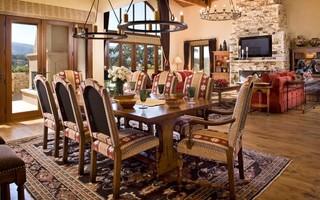 现代美式风格一层半别墅舒适厨房餐厅客厅一体效果图