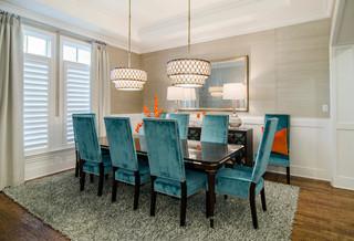美式风格客厅3层别墅欧式奢华主题餐厅效果图