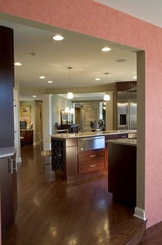美式乡村风格客厅三层小别墅新古典厨房和餐厅设计