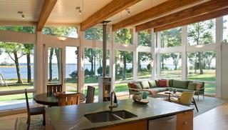 美式乡村风格单身公寓厨房温馨卧室宜家沙发床效果图