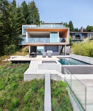 现代简约风格卧室一层半小别墅时尚简约客厅别墅游泳池设计图纸