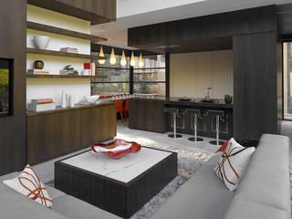 英伦风格三层别墅现代时尚客厅三人沙发图片