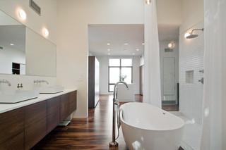 现代简约风格厨房小型公寓时尚家具按摩浴缸效果图