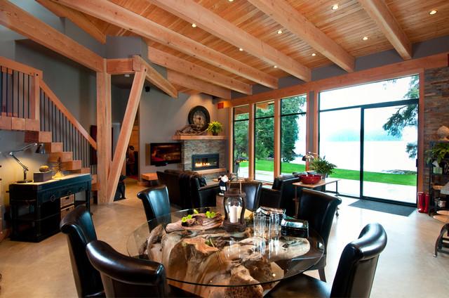 loft风格80复式楼欧式奢华厨房和餐厅装潢
