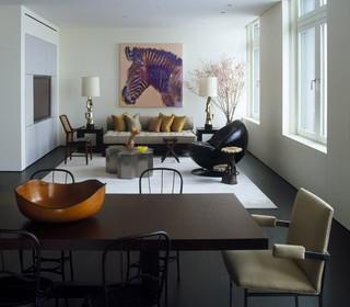 现代简约风格客厅一层半小别墅时尚卧室装饰红木餐桌效果图