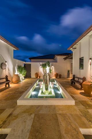 东南亚风格三层小别墅唯美别墅游泳池设计图