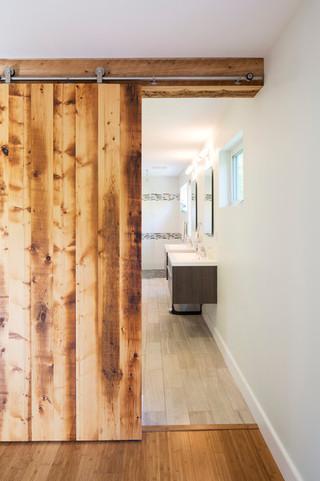 现代北欧风格复式公寓唯美不锈钢玻璃门效果图