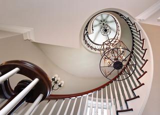 现代北欧风格三层别墅及浪漫婚房布置室内旋转楼梯效果图