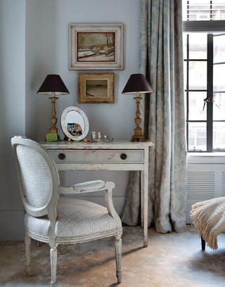 现代简约风格客厅公寓浪漫卧室转角书桌书柜图片