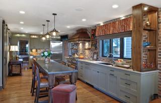 现代简约风格厨房一层别墅现代奢华家庭餐桌图片