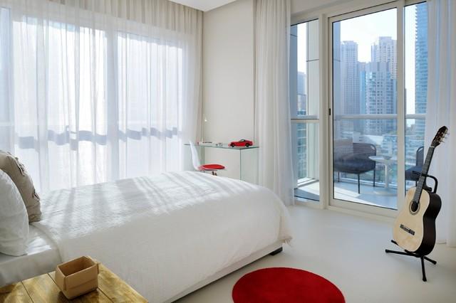 现代简约风格精装公寓艺术家具儿童房双层床效果图