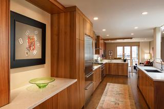 大方简洁客厅原木色开放式厨房餐厅装修效果图