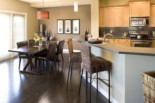 温馨装饰暖色调小户型开放式厨房红木餐桌效果图