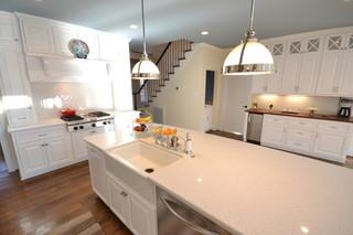 现代欧式风格三层双拼别墅时尚家具厨房吧台装修效果图