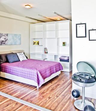 现代简约风格单身公寓简洁布艺床图片