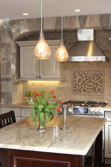 欧式风格客厅现代奢华开放式厨房吧台欧普照明吸顶灯效果图图片