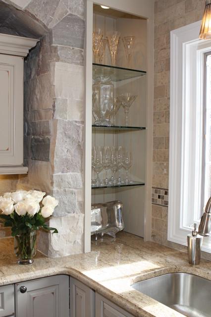欧式风格现代奢华开放式厨房吧台挂墙式台盆图片