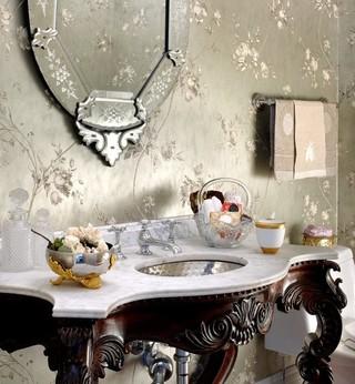 新古典风格复式公寓艺术家具挂墙式台盆效果图