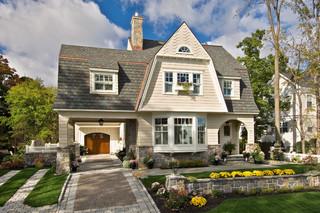 美式乡村风格客厅三层双拼别墅大气灰色窗帘效果图
